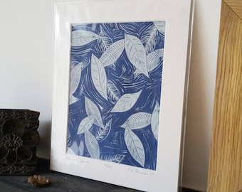 Frosted Leaves - original limited edition lino print