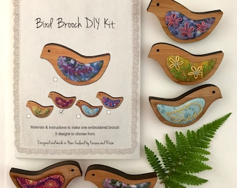 DIY embroidery Kit - make 1 bird brooch - 5 designs to choose from