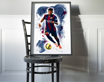 Neymar Poster Barcelona Print Home Decor DORM decor House Warming Gift Neymar wall art Barcelona soccer poster Barcelona Neymar Wall Decor