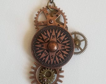 Rustic Compass Gear Necklace