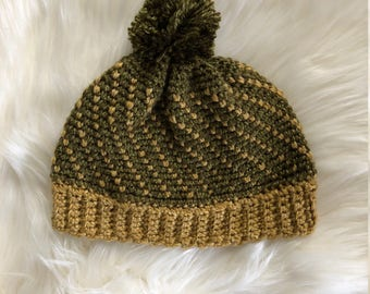 Green and Gold Crocheted Beanie