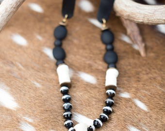 Handmade Beaded Antler Necklace