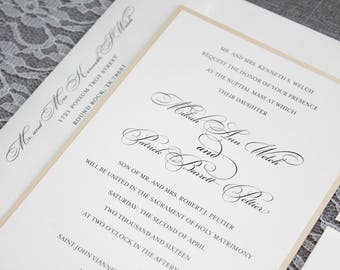 Gold Wedding Invitation, Formal Wedding Invitation, Simple Wedding Invitation,  Formal Invitation, Traditional Invitation | Mikah & Patrick