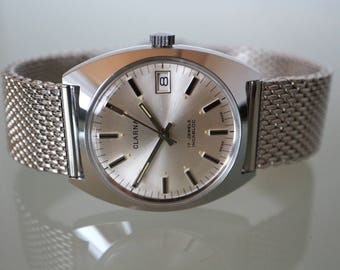 Vintage Mens wristwatch Steel, Swiss made, dial bright