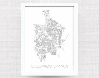COLORADO SPRINGS City Limit Map Print - Home Decor - Office Decor - Artwork - Poster - Wall Art - Colorado Springs Gift - Colorado Gift