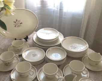 Vintage Royal China 22k Gold Dinnerware Whisper Victorian Plates Bowls Setting 6 1940's- 1960'S