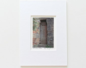 Tiny Art Print Matted, Italian Photography, Door Photography, Wooden Door Print, Italy Print, Italian Art, Rustic Wall Art, Tuscany Wall Art