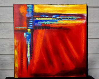 Bright modern abstract Red painting