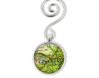 Arkansas Ornament, Map Gift for Men, Aunt Gift, Little Rock Ornament, Arkansas Map Ornament, brother in law gift, gift ornaments, map gifts