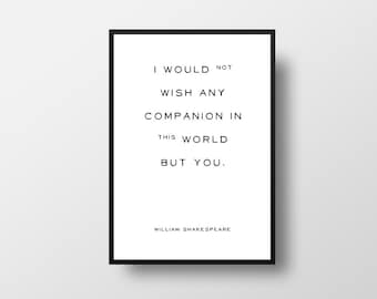 The Tempest, Shakespeare Quote, I would not wish, Typographic Print, Valentines Day, Romantic Quote, Love Quote, William Shakespeare, Book