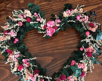 Heart shaped pink dried floral wreath