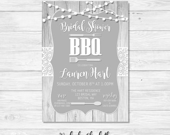 BBQ Bridal Shower Invitation Lace Rustic Gray DIGITAL FILE