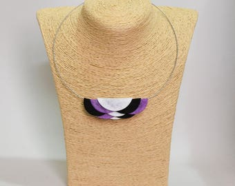 Geometric handmade necklace made of black white and purple color