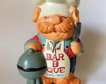 Vintage Utensil Holder BBQ Pig Out