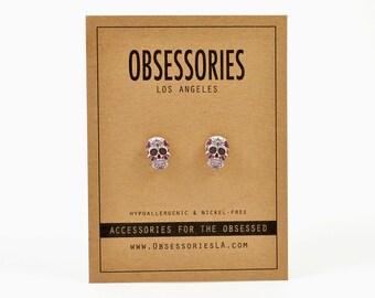 Mexican Sugar Skull Earrings Skull Stud Earrings Skull Jewelry Skull Accessories Calavera Day Of The Dead El Dia De Los Muertos Skull Gift