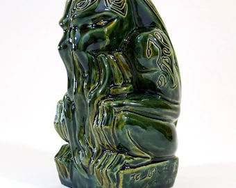 Cthulhu Tiki Mug - handmade - mottled green - limited edition