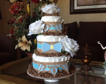 Bow tie diaper cake/ Baby boy diaper cake/Boy rustic diaper cake/Boy baby shower Centerpiece/Burlap diaper cake/Elegant diaper cake