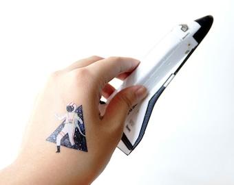 Universe Pattern Temporary Tattoo, Set of nine, Astronaut Tattoo