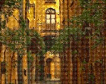 Medieval Italian Courtyard Cross Stitch pattern PDF - Instant Download!