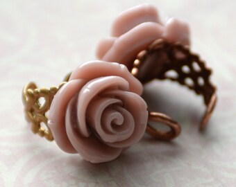 Dusty Pink Rose Ring, Adjustable Filigree Ring, 18K Gold, Rose Gold Copper, Rose Jewelry, Garden Bridal Jewelry, SRAJD JewelryFineAndDandy