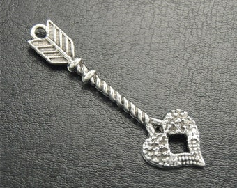 30pcs Antique Silver Heart Skeleton key Charms Pendant A1806