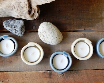 Tea light holder  , set of two , pebble collection