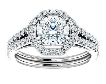 Forever Brilliant Moissanite Engagement Ring with Diamond Accents- 1.68ctw