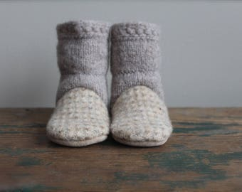Wool Baby Slippers, Felted Wool Baby booties, Wool booties, Baby Slippers, 6-12 months
