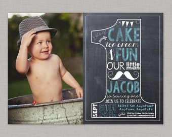 Little Man 1st Birthday Invitation, Little Man 1st Birthday Invite, Boy First Birthday Invitation, Little Man First Birthday Invitation