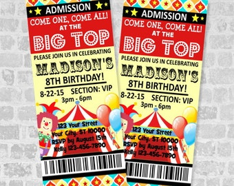 Circus Ticket Invitations, Circus Carnival Birthday Party Ticket Invitation, Custom Big Top Circus Party Ticket Invites, Digital Or Printed