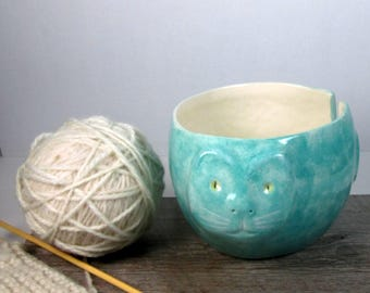 Cat Yarn bowl Knitting and crochet  bowl Ready to ship