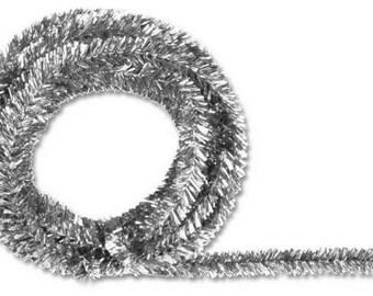 Silver Metallic Tinsel Roping XG447826, Mesh Supplies, Poly Mesh Supplies, Mesh Ribbon (25 FEET)