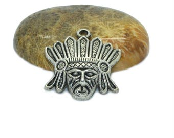 2 charms mask ethnic 23x22mm