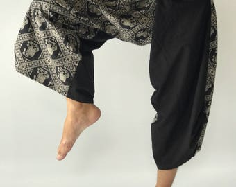 SR0132 Samurai Pants Harem Have Fisherman Style Wrap Around Waist