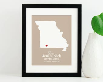 Missouri State Map, State Map Art Print, Personalized New Family Gift, Wedding Gift, US State Anniversary Gift, Relocation -  Art Print
