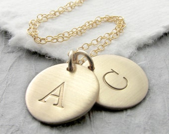 Gold Initial Necklace Solid Brushed 14k Gold Double Initial Typewriter Font Personalized Jewelry