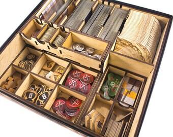 7 wonders board game, wood insert, organizer