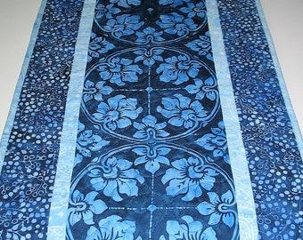 Batik Table Runner, Blue, Batiks, quilted, handmade, center piece, dresser scarf