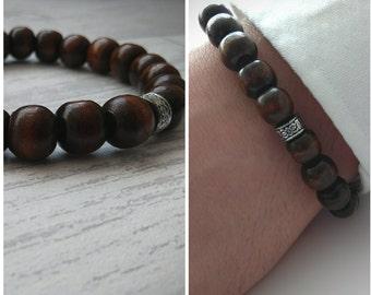 Mens beaded  Bracelet - Men Wooden Bracelet - Men Jewelry - Men's Bracelet - Men's Jewelry - Men Gift - Men's Gift - Men's Beaded Bracelet