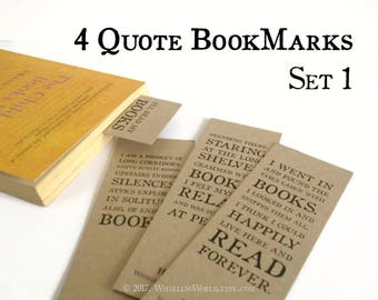 Quote Bookmarks, Set of 4 | bookish page markers, quotations about books & reading | book lover gift for reader, literary gift for librarian