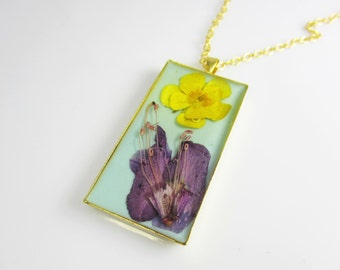 Azalea and Buttercup Pendant, Real Flowers, Pressed Flower Jewelry  (1787)
