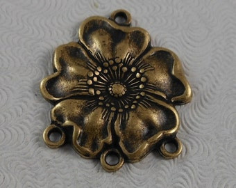 LuxeOrnaments Oxidized Brass Filigree Flower 4 Ring Connector 1 pc G-5817-B