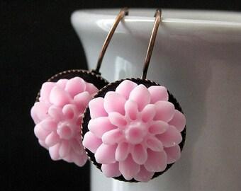 Pink Dahlia Flower Earrings. French Hook Earrings. Pink Flower Earrings. Lever Back Earrings. Handmade Jewelry.