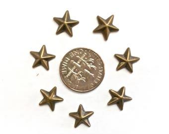 10mm Bronze (Antique Gold) Metal Star Shaped Studs Hot Fix (HotFix) Iron On or Glue on Flat Back Studs/ 100 pcs., 50 Pcs. or 25 Pcs.