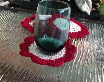 Red Beige Coaster Set of 4 Handmade Crochet