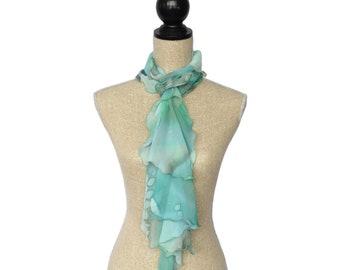 Chiffon Silk Fashion Scarf with Ruffles -- Mint + Green + White + Tan -- 100% Hand-Painted Silk -- Made in Canada