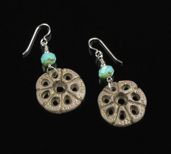 Rustic Boho Earrings, Unique Tribal Honeycomb Dangle Earrings, Aqua & Brown Clay Earrings, Tribal Art Jewelry, Unique Jewelry Gift for Her
