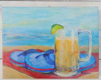 Beer painting, Beer art, happy hour, beer on the beach, 5 o'clock, beach love,  beach party, beach happy hour, Fathers Day gift, SALE PRICE!