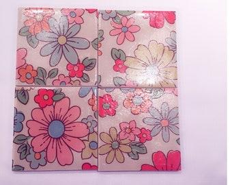 Set of 4 handmade ceramic coasters-Cath Kidston Petal design
