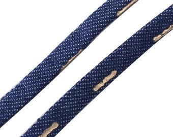 1 m cord in dark Denim Blue striped 5mm - creating jewelry-